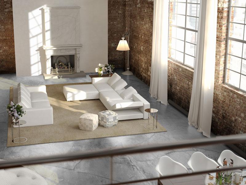 grijze betonlook vloer woonkamer