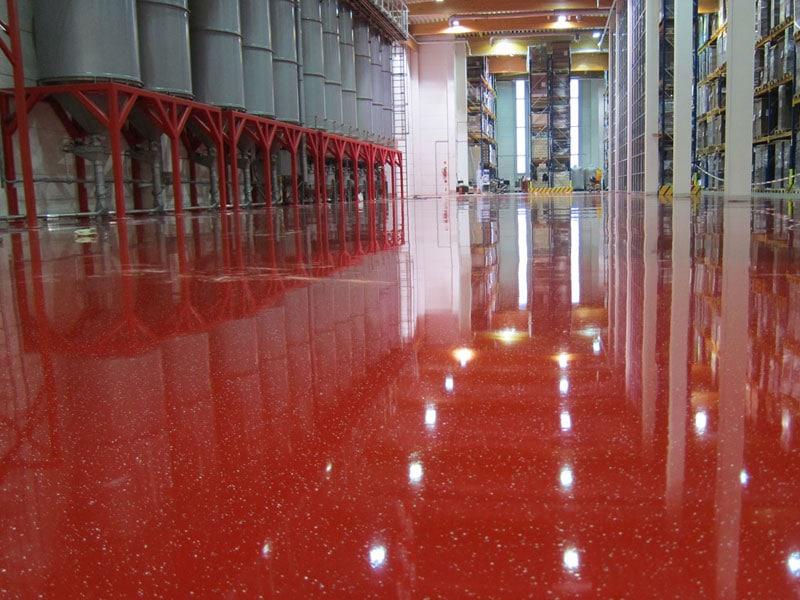 epoxy gietvloer rood bedrijfsruimte